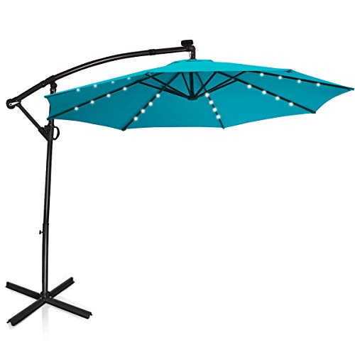 Tangkula 10 FT Patio Offset Umbrella with 360...