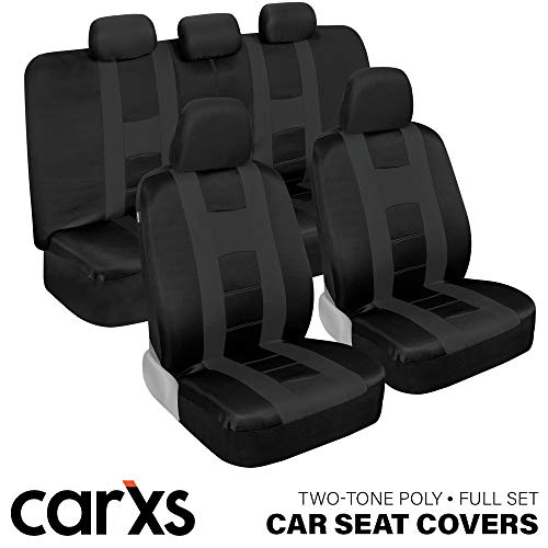 carXS Forza Series Charcoal & Black Car Seat Covers, Full Set – Front and Rear Bench Back Seat Cover Set, Easy to Install with Two-Tone Accent, Universal Fit for Cars Trucks Vans and SUVs