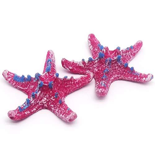 NGe 2pcs Polyresin Aquarium Fish Tank Artificial Emulational Starfish Sea Star Shape Ornament Pink Polyresin Realistic Starfish Fish Tank for Fish Tank Decorations(Small Pink