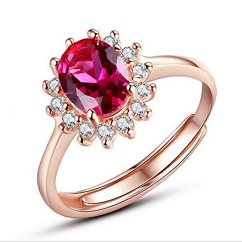 Koperen ring rode diamant opening wijsvinger ring dames wilde enkele ring geschikt voor koppels verjaardagscadeau rose goud