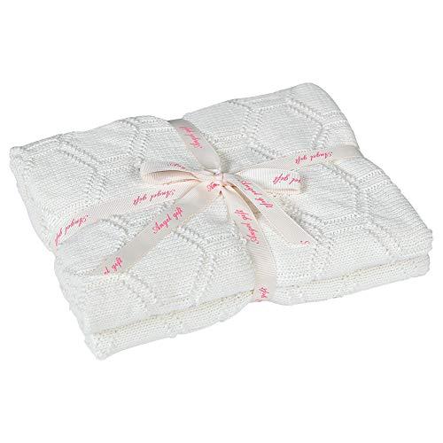 MYLUNE HOME 100% Bio Baumwolle Babydecke Strickdecke 80X100CM Sechseck Gestrickt Kuscheldecke für Babydusche (Weiß)