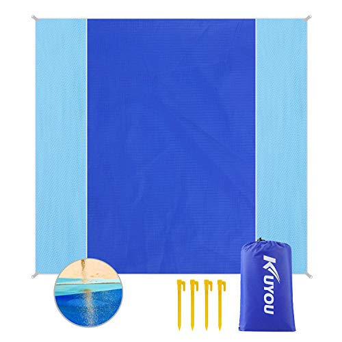 """KUYOU Sand Proof Beach Blanket, Extra Large Beach Mat 82"""" 79"""" Sand Free Water Resistant Beach Mat Includes 4 Stake, Ultra Portable for Beach, Picnic, Camping (Blue (Upgrade+210T Nylon Layer))"""