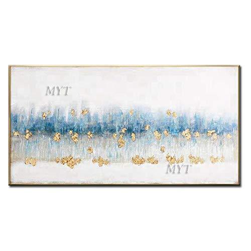 ZNYB Cuadro Lienzo Pintura al óleo Azul Dorada Abstracta Moderna Hecha a Mano de Gran tamaño 100% sobre Lienzo imágenes artísticas de Paisaje para la decoración del Dormitorio de la Sala de Es