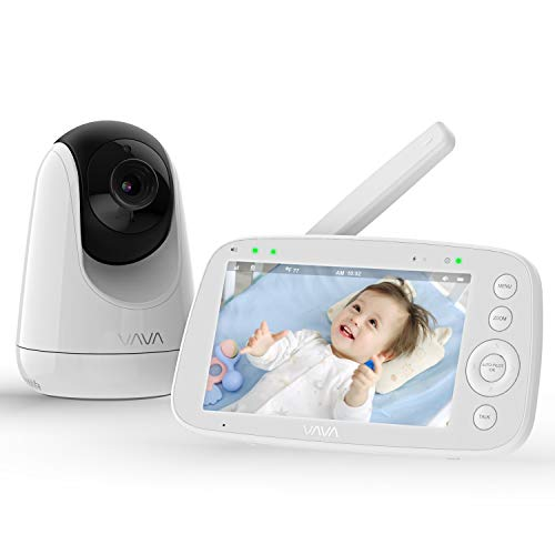 Baby Monitor, VAVA 720P 5' HD Display Video Baby Monitor with Camera and Audio, IPS Screen, 480ft Range, 4500 mAh Battery, Two-Way Audio, One-Click Zoom, Night Vision and Thermal Monitor