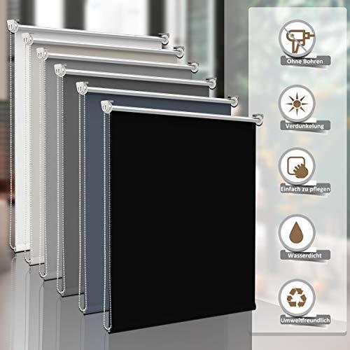 Sanfree Verdunkelungsrollo Thermorollo ohne Bohren, Klemmfix Fensterrollo Sichtschutz Klemmrollo, verstellbare Klemmträger Rollo Hitzeschutz mit Silberbeschichtung,Schwarz 120x150cm (BxH)