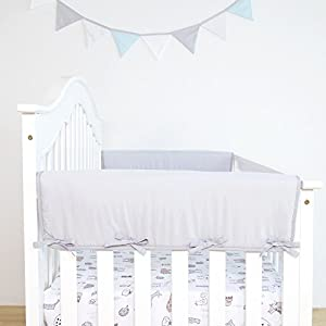 TILLYOU 2-Pack Padded Baby Crib Rail Cover Protector Safe Teething Guard Wrap for Thick Side Crib Rails(Measuring Up to 18″ Around), 100% Silky Soft Microfiber Polyester, Reversible, White
