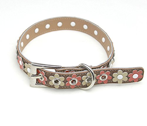 HERBE 柴犬 シバイヌ ウェルシュ・コーギー・ペンブローク お花畑の首輪 本革製 お花 首飾り サイズ調整可能 です。茶色