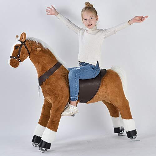 UFREE caballo grande mecánico mecedor de juguete, para cabalgar, saltar y andar, pony para niños a partir de 6 años y adultos (melena y cola blancas), altura 110 cm)