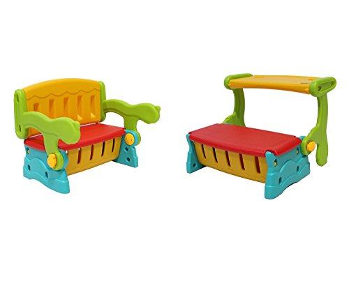 Infantasie \'Switch\' 2in1 Kinder Sitzbank mit Rückenlehne oder Klapptisch und geheimer Truhe, einfach die Sitzbank mit Lehne in eine Sitzbanktruhe mit Tisch umklappen, flexible Indoor und Outoor Kindersitzgruppe aus wetterfestem Kunststoff für den Garten oder im Kinderzimmer