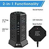 Tower Extension Lead, Te-Rich 12 Gang Surge Protector Multi Plug Power Strip Electric Charging Station with 5 Smart USB Charger, 2500W/10A, Separate Switches, 2M Cable for Home and Office