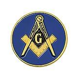 Square & Compass Round Masonic Auto Emblem -...