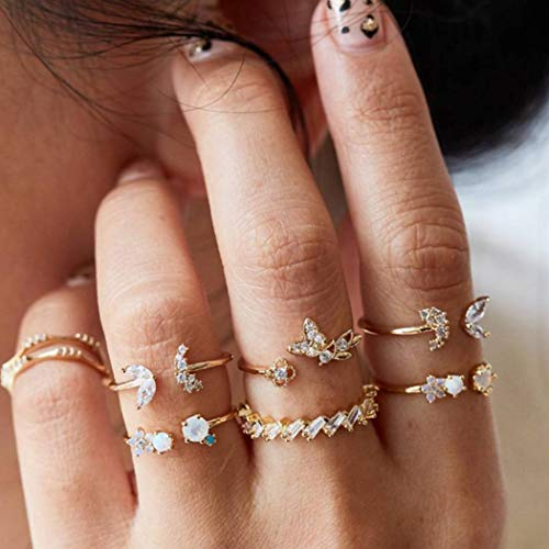 Aukmla Boho Knöchelringe Set Silber Kristall Stapelbare Fingerringe Schmuck Gelenk Knöchelringe Hand Zubehör für Frauen und Mädchen 7St