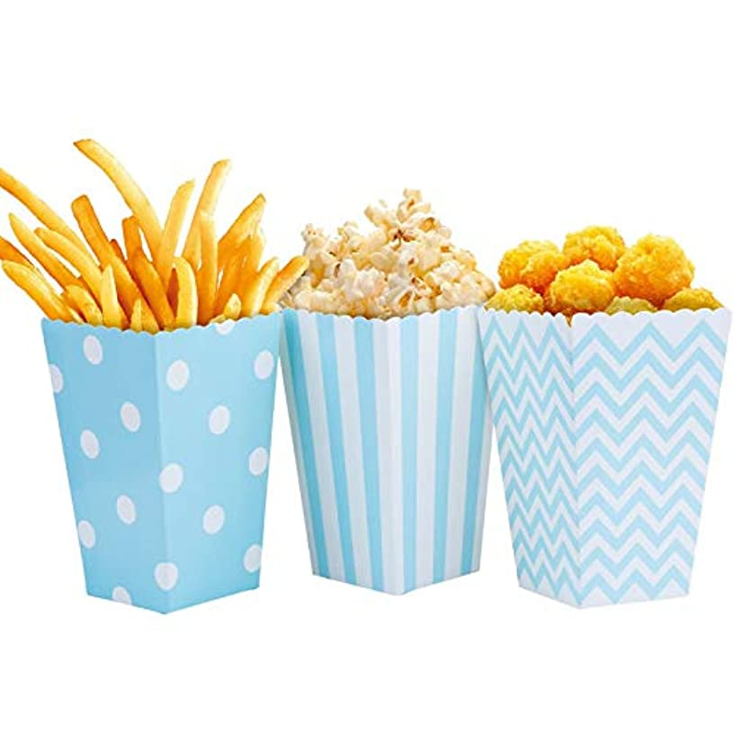 Nenluny 24pcs Popcorn Boxes Holders Containers Cardboard Candy Container Snack Paper Bags for Movie Theater Dessert Tables Wedding Favors (Blue)
