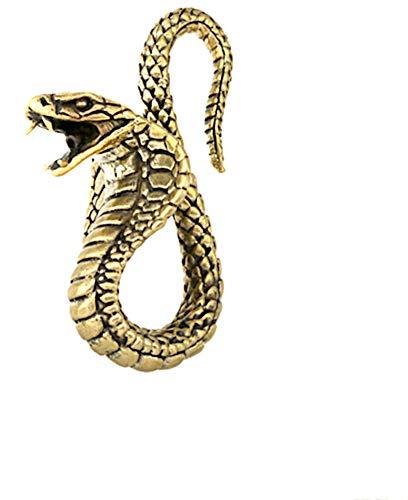 CHICNET Piercing en forma de serpiente Kobra en forma de espiral de latón en oro, a partir de 3 mm, 8 ga, dilatador de oreja, expansor de oreja