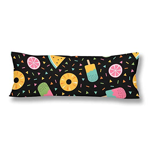 CiCiDi Seitenschläferkissen Kissen-Bezug 40x145 cm Sommer Tropische Früchte Eiscreme Memphis Black Atmungsaktives Kissenhüllen mit Reißverschluss Baumwollen und Polyester