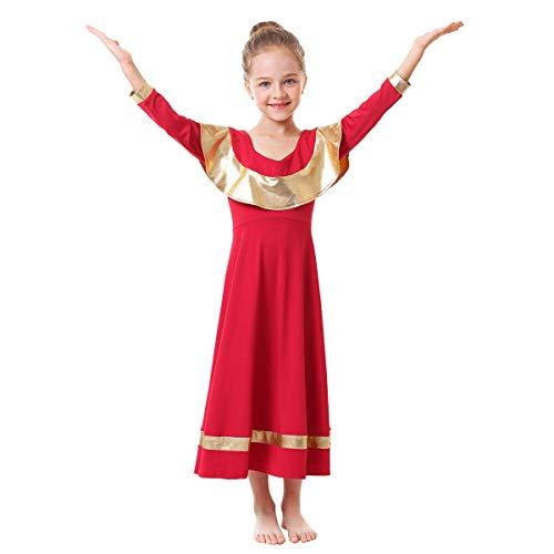 IBAKOM - Vestido de alabanza para niños y niñas, con Volantes, Manga Larga, Suelto, para Baile lírico, para niña