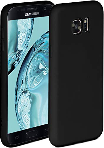 ONEFLOW Soft Hülle kompatibel mit Samsung Galaxy S7 Hülle aus Silikon, erhöhte Kante für Displayschutz, zweilagig, weiche Handyhülle - matt Schwarz