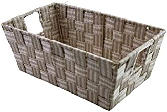 Dependable Industries inc. Essentials Small Multi-Purpose Woven Shelf Storage Tote (Beige)