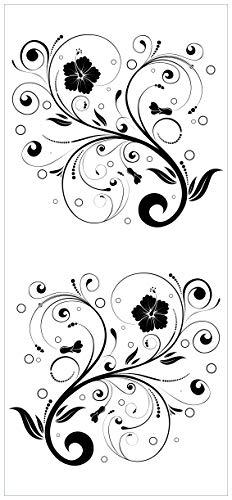 Türtapete Türposter Schnörkelmuster in schwarz weiß mit Blumen und Kreisen - Größe 93 x 205 cm