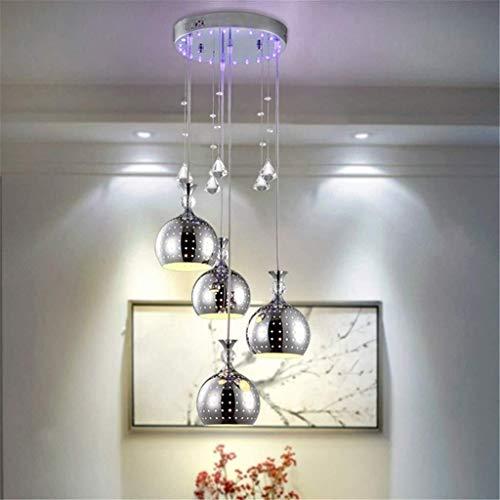 KK Zachary Lámpara de araña de acero inoxidable minimalista K9 de cristal hecho con cuatro lámparas, placa de techo, tamaño 50 cm x 90 cm