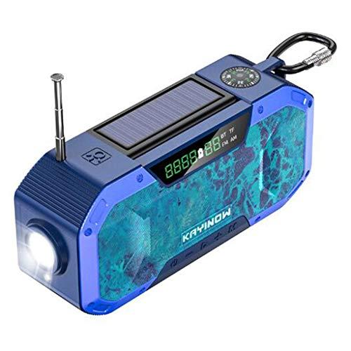 Multifunctional IPX6 waterproof portable Bluetooth speaker, Wireless solar generator radio with LED flashlight, AM FM-5000mAh hand crank mobile phone charger, SOS alarm, compass (Color : 8)