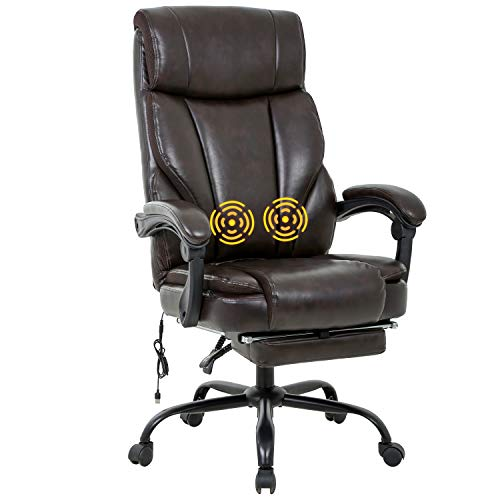 Home Office Chair Ergonomic Desk Chair Massage Computer Chair with Lumbar Support Armrest Foot Rest Rolling Swivel High Back PU Leather Recliner Task Chair for Men (Brown)