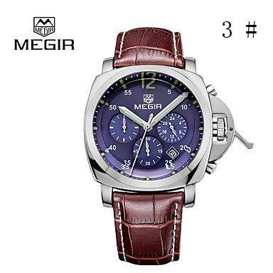 FENKOO megir® 2015 Mode für Männer Quarz-Uhren mit 3 kleinen Wahlluxusmarken Lederband Zeiger mit Leucht (3#)