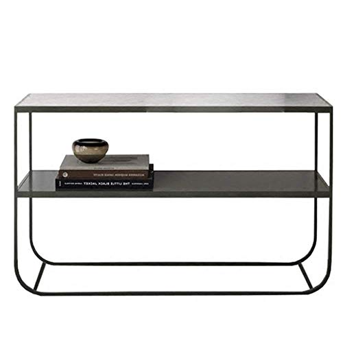 N\C Table Console Table,Marble Sofa Rear Wrought Iron Side Table Entrance Hall Porch Long Bar Table Storage Rack White/Black 23 × 15 × 29 Inch for Living Room Bedroom