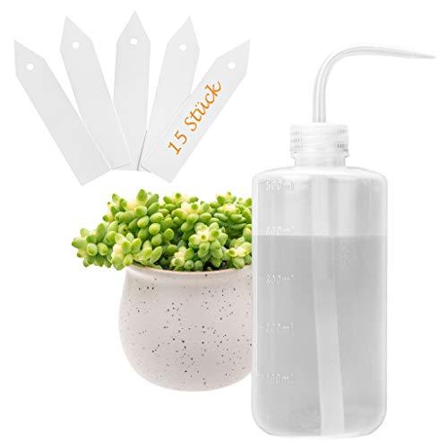 ORIMERC Bewässerungsflasche, 500 ml, mit 15 Pflanzenetiketten für Zimmerpflanzen, Sukkulente Kakteen, Kunststoff, biegsam, Bonsai, Terrarium, Orchideen, Sämling, afrikanische Veilchen