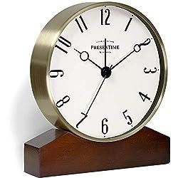 PresenTime & Co Mozart Mantel Alarm Clock, Tabletop Clock, 6 x 5.5 inch, Silent, Wooden Base, Walnut Finish, Golden Color, Arabic Numeral