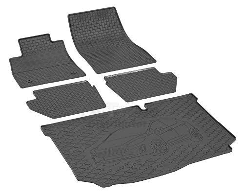 Passende Gummimatten und Kofferraumwanne Set geeignet für Ford Fiesta Hatchback ab 2017ein Satz + Gurtschoner