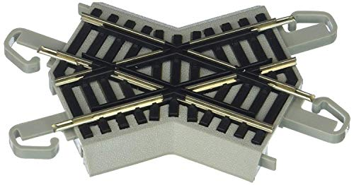 Bachmann Trains - Snap-Fit E-Z TRACK 45 DEGREE CROSSING (1/card) - NICKEL SILVER Rail With Gray Roadbed - HO Scale