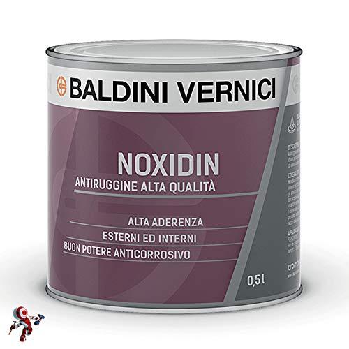 Antiruggine per ferro e legno interni esterni Baldini Vernici Noxidin 500 ml colori rosso o grigio (GRIGIO 174)