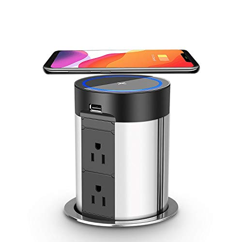 Automatic Pop Up Socket,Pop Up Power Strip with Wireless Charger,Retractable Recessed Power Strip,4 AC Outlets, 2 USB Charging Ports for Office Table and Workshop