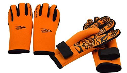 Tauchen Handschuhe Druck Männer Manuelle Rutschfeste Komfortable Tauchen Stoff Surfen Wassersport Schnorcheln Handschuhe 2Mm (Color : Orange, Size : L)