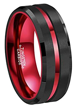 CROWNAL 8mm Red Black Tungsten Wedding Bands Rings Men Women Red Groove Matte Finish Size 6 to 16  8mm,10