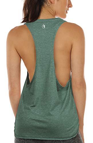 icyzone Sport Tank Top Damen Locker - Yoga Fitness Shirt Racerback Oberteile atmungsaktive (XL, Green)
