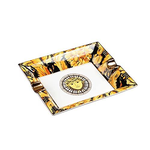 Cenicero para Cigarros Cerámica Decoración de Escritorio Portátil Rectángulo Resistente Calor para Hogar 205X168X40mm