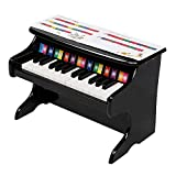Youareking Kids Piano Practice Instrument 25-Key Mechanical Sound Quality Children's MDF Density Board Wooden Piano Vertical Without Chair ,Black