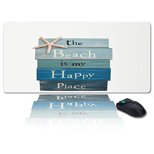Large Mouse Pad Desk Mat 35x15 In Oversized RGB Soft Gaming Mousepad, Custom Beach Themed Mat, The Beach is My Happy Place/Plank Board Sign with Starfish XXL Cool Keyboard Pad for Gamer, Office & Home