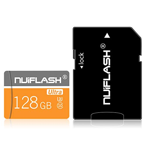 128 GB Micro Memory Card (Klasse 10 High Speed) Speicherkarte/TF-Karte mit Adapter für Kamera, Telefon, Computer, Überwachung, Drohne