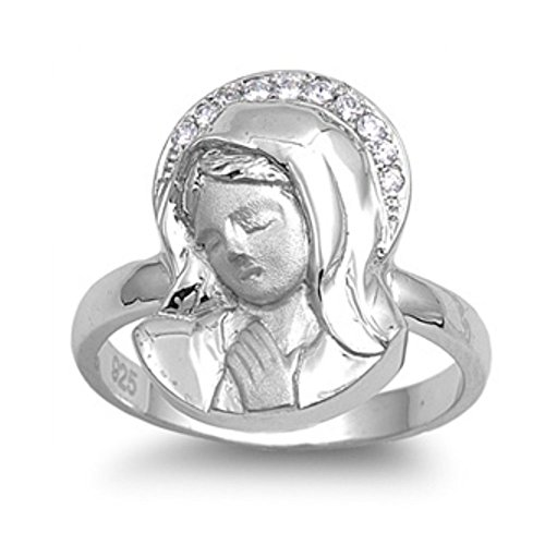 Virgen de plata esterlina Maria Cubic Zirconia Anillo - Tamaño, 11,5 (16,40 mm)