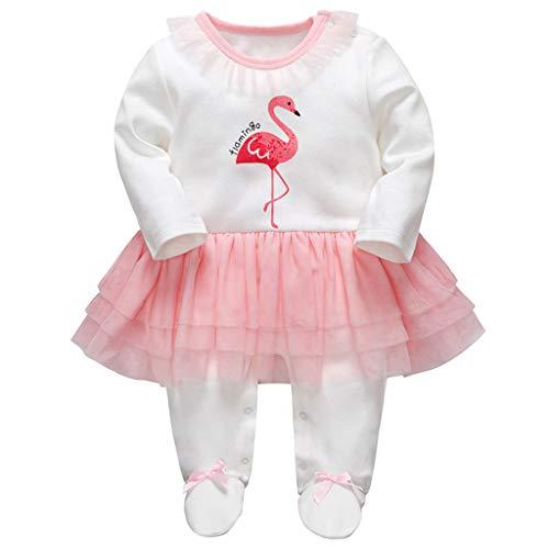 Minizone Baby Mädchen Tütü Strampler Gestreift Spielanzug Footed Overalls Säugling Schlafanzug Outfits, 6-9 Monate