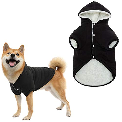 Warm Fleece Dog Hoodie Pet Winter Coat - Cute Sport Style Dog Sweater with Paw Design, Soft Pet...