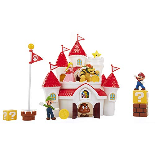 "Super Mario 70843-4L Nintendo Super Mario Deluxe Mushroom Kingdom Castle Playset with 5 2.5"" Articulated Action Figures & 4 Accessories (Includes Mario, Luigi, Princess Peach, Bowser)"