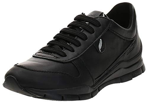 Sneakers für Damen - 3D Gummisohle mit Lederobermaterial, geringes Gewicht, Farbe Schwarz, 37