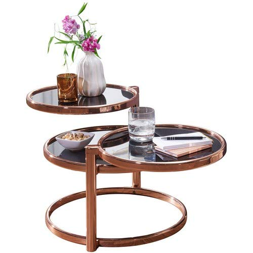 Wohnling Couchtisch SUSI mit 3 Tischplatten Schwarz/Kupfer 58 x 43 x 58 cm | Beistelltisch Rund | Design Wohnzimmertisch Glas/Metall | Designer Glastisch Sofatisch modern | Kleiner Loungetisch