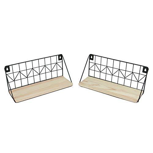 Schwebende Rustikale Regale - 2er Set| Hölzerne Küchen Dekoration | Wandregal aus Metall | Küchenregale | M&W