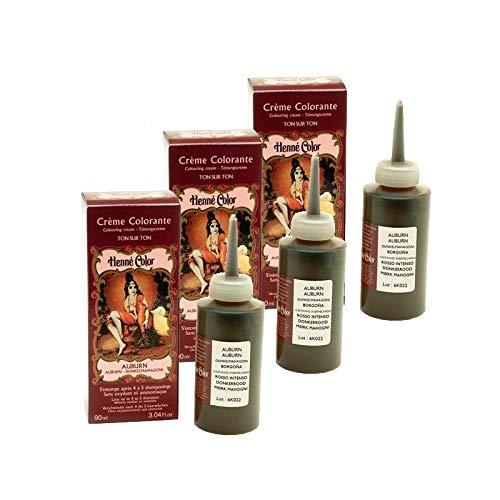 Lot 3 Crèmes Colorantes Auburn 100% Naturel Sans Sulfates Pour Cheveux Coloration Semi Permanente Naturelle Soin Henné Capillaire 3 x 90ml