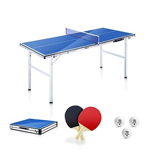 YM - Mesa de ping pong plegable Mini Ninja en maletín, portátil y compacto, estructura de acero con tubos de 25 mm, incluye raquetas y bolas. Dimensiones abierta: 150 x 67 x 69 cm.